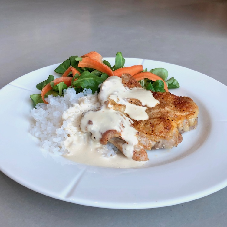 Low Carb chicken, Pure Rice, gravy, salad