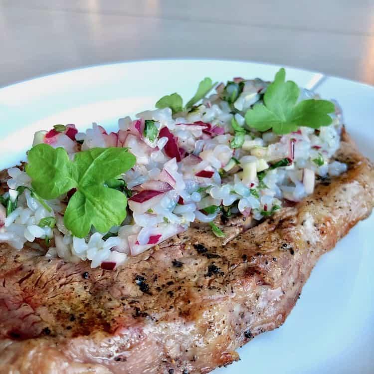 PureRice, koriander, parsly, salt, peppar, steak, garlic, red onion.